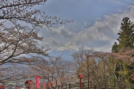 sengen: view of fuji mountain from step up way  to Arakura Sengen Editorial