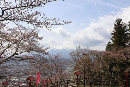 step up: view of fuji mountain from step up way  to Arakura Sengen Stock Photo
