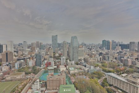 megacity: Aerial view of Tokyo with the city highway. Japan 2016 Editorial