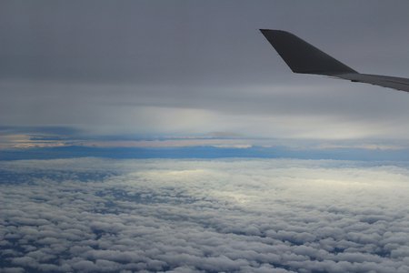 looking through window: Looking through window aircraft. View from airplane. Stock Photo
