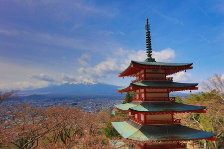 fuji san: Mt Fuji viewed from behind Chureito Pagoda at 2016