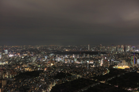 megacity: the night view of  Tokyo city scape 2016