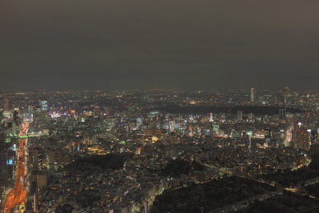 sprawl: after sun sets over the sprawling cityscape of Tokyo.
