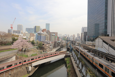converge: the Multiple train lines converge in Ochanomizu, Tokyo, Japan Editorial