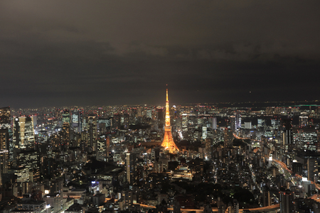 metropolis image: Cityscape of Tokyo at night, as seen from the top