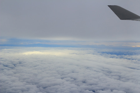through window: Looking through window aircraft. View from airplane. Stock Photo