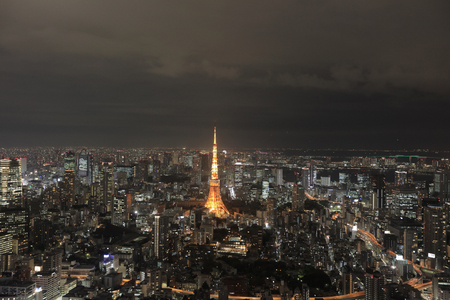 megacity: Tokyo Tower stands out among the Tokyo cityscape as dusk falls