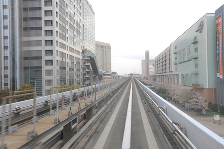 monorail: which connects Shimbashi to Toyosu in Tokyo, Japan.