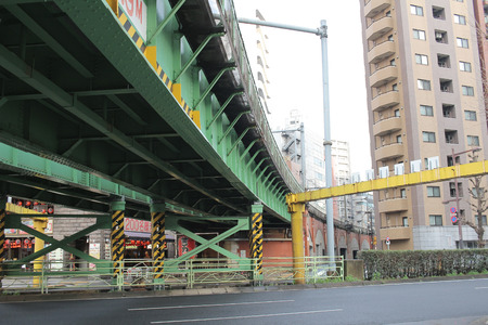 schlagbaum: a Close up overlapped highway at Akihabara