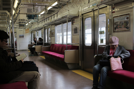 transportaion: Detail of inner the passenger train, JR Nikko railway Editorial