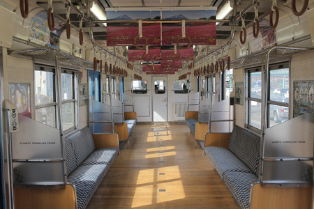commuter train: inside Fujikyu commuter train at the Kawaguchiko station. 2016