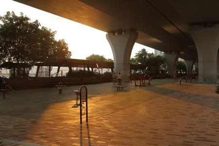 promenade: the Kwun Tong Promenade park at sunset