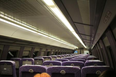 seats of 500 TYPE EVA Shinkansen (High-speed) train.