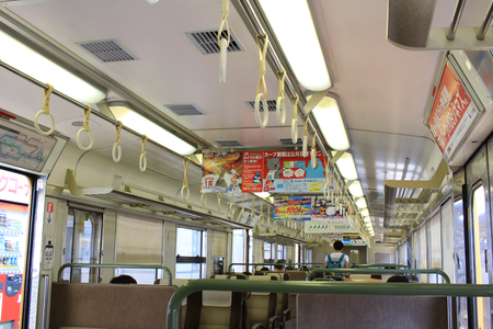 to depart: the  Inside of JR train depart from kure line Editorial