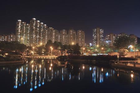 Hong Kong public house buildings at night Editorial
