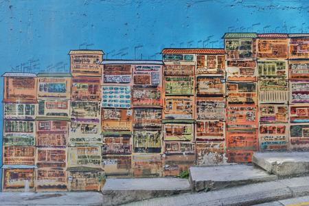 香港の壁に落書き (建物の写真) 写真素材