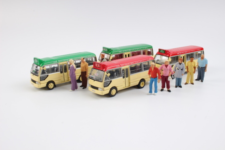 miniature people: the Miniature people at a bus station