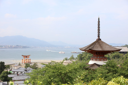 Itsukushima Shrine roof top for backgroud and copy space