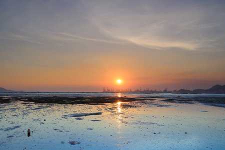 colorful sunset during low tide at PAK LAI  2016