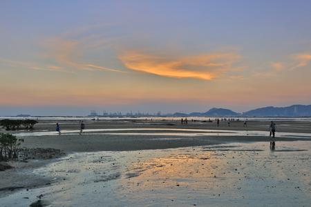 Sunset beach in hong kong Lau Fau Shan 2016 Stock Photo