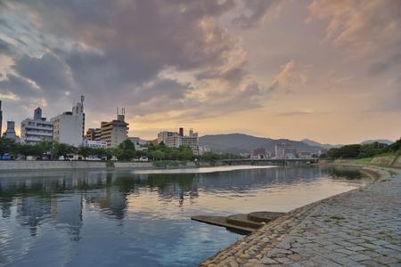 high rises: Downtown Hiroshima city at Otagawa River in Hiroshima, Japan.