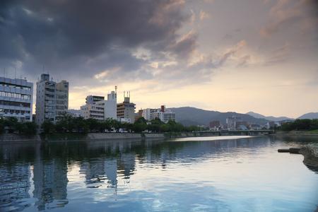 bombed city: Hiroshima, Japan city skyline on the Otagawa River.