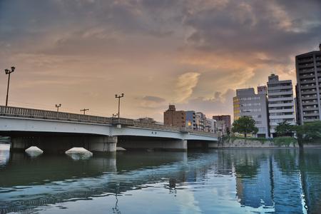 hiroshima: Downtown Hiroshima city at Otagawa River in Hiroshima, Japan.