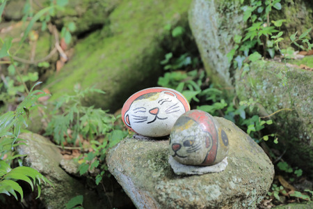 down town: a Cat stone around down town in Onomichi Japan Stock Photo