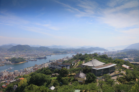 the top view of ONOMICHI IN HIROSHIMA Stock Photo