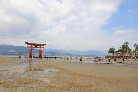 shinto: Giant Torii during low tide near Itsukushima shinto shrine in Miyajima Editorial