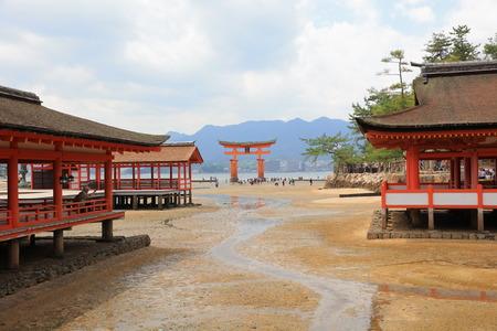 shinto: Giant Torii during low tide near Itsukushima shinto shrine in Miyajima,