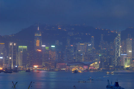 hong kong island: Hong Kong Island from Kowloon. 2016 Editorial