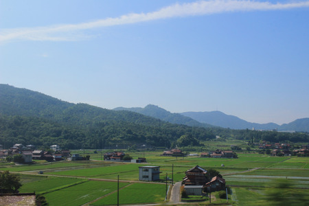 feild: the Hiroshima prefecture, the view from the train window Stock Photo