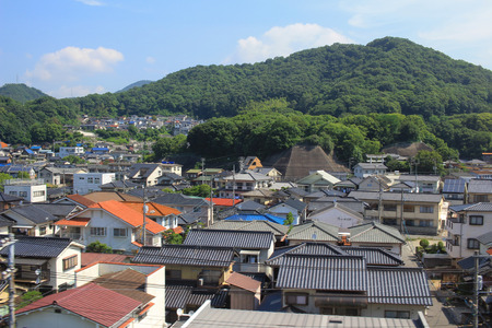 residential settlement: town with traditional architecture is in Hiroshima prefecture