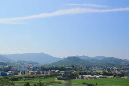 residential settlement: the Hiroshima prefecture, the view from the train window Stock Photo
