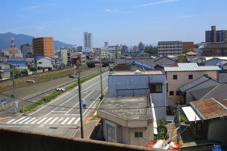 residential settlement: the view from the train window, HIROSHIMA