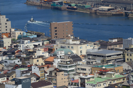 Onomichi city birds-eye view in miniature photo style Editorial