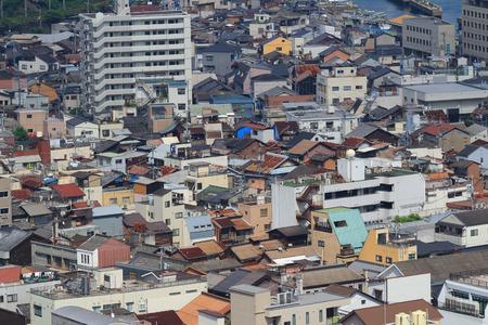tilt views: Onomichi city birds-eye view in miniature photo style Editorial