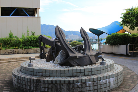 the Anchor sculpture near port in Mihara