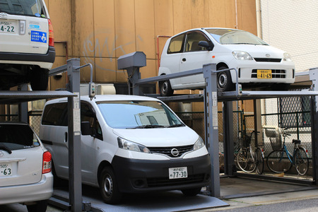 auto hoist: the Double story parking in the city center Editorial