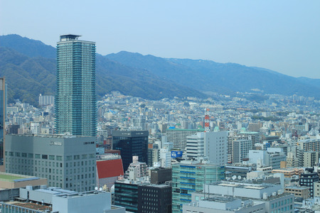Aerial view of the Shin-Kobe district in Downtown Kobe, Japan Editorial