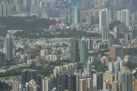 icc: the Kowloon side view Hong kong isaland at ICC Editorial
