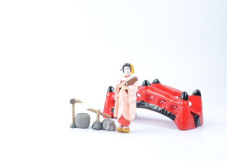 white back ground: the Japanese figurine with white back ground