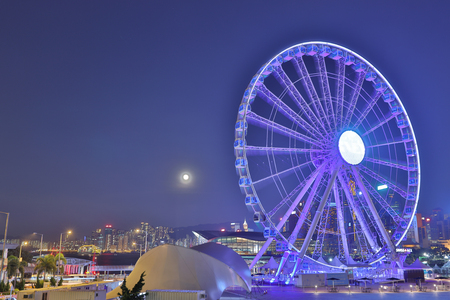 observation: full moon with Observation Wheel, Hong Kong Editorial