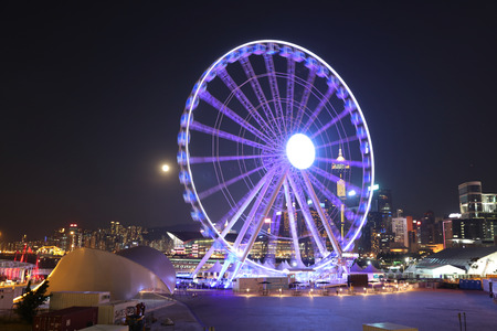 full moon with Observation Wheel, Hong Kong Editorial