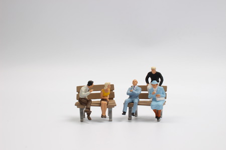 miniature people: Miniature people business traveler concept sit on chair