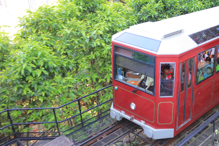the Tourist tram at the Peak in Hong Kong Editorial