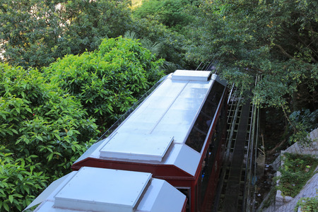 sea life centre: the Tourist tram at the Peak in Hong Kong Stock Photo