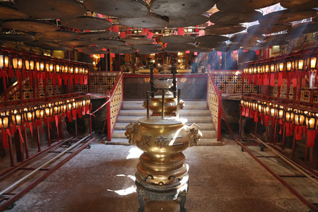 temple burn: Man Mo Temple in Hong Kong, it is one of the famous temple. Editorial