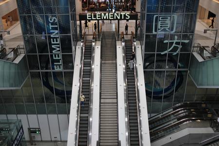 lift gate: the escalators stairway inside modern office building.